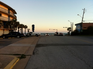 Galveston beach and Casey's Restaurant just to the right